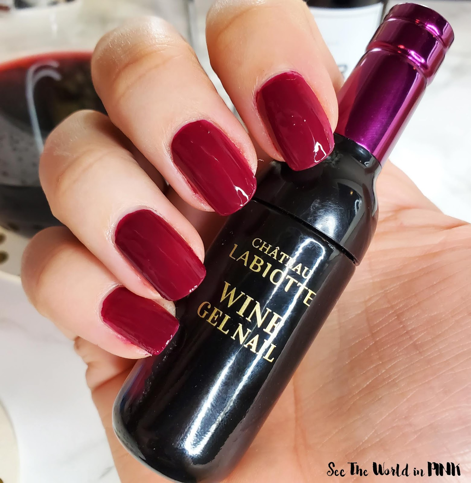 修指甲星期一-Labiotte Chateau Labiotte Wine Gel Nail在Nebbiolo Red