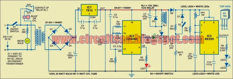 Automatic Bathroom Light With Back Up Lamp Circuit Diagram