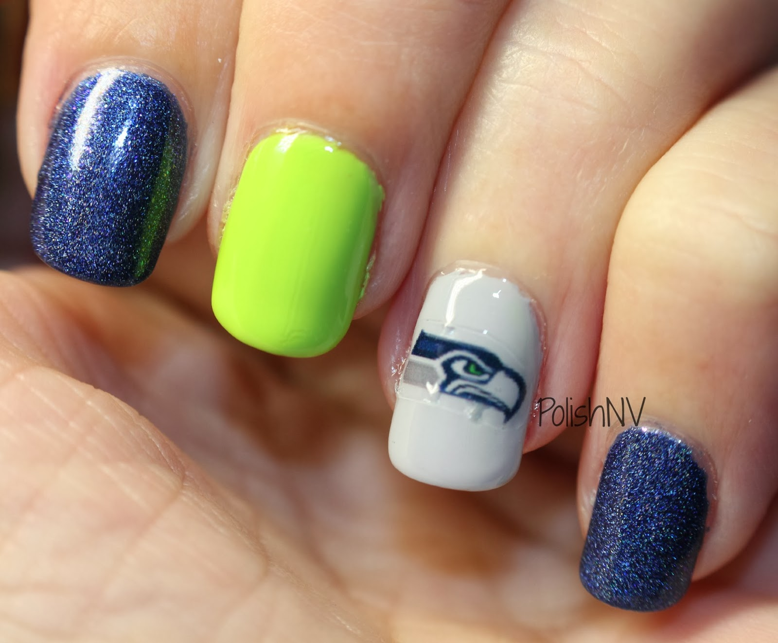 Seattle Seahawks nail art