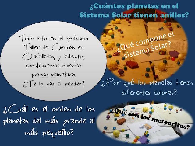 taller infantil de los planetas en Chafalladas