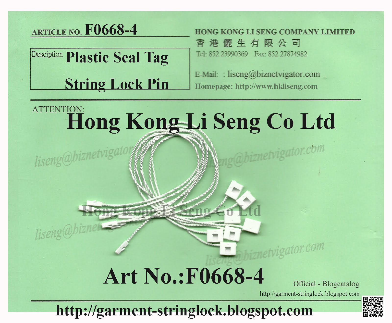 Hang Tag Plastic String Lock Pin - White Color