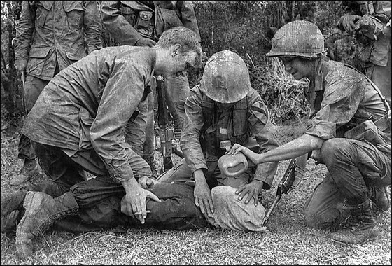"U.S. soldiers ""water boarding"" a prisoner in Vietnam."