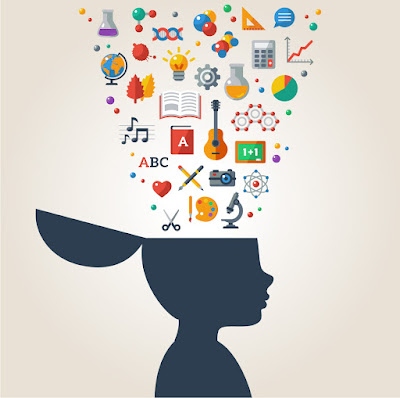 The silhouette of a young person with colorful objects being funneled into their brain