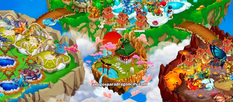 imagen de la isla dojo de dragon city de facebook