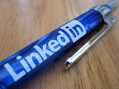 LinkedIn logo blue pen