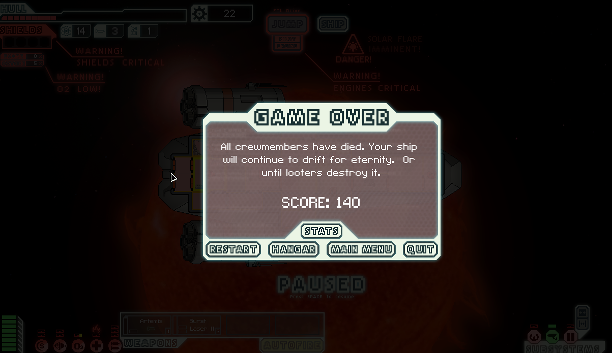 FTL, death, fail, Faster than Light