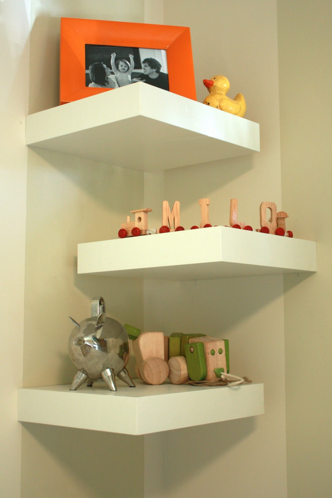 Amazing photo of DIY Corner Shelves One Little Minute with #BD860E color and 1067x1600 pixels