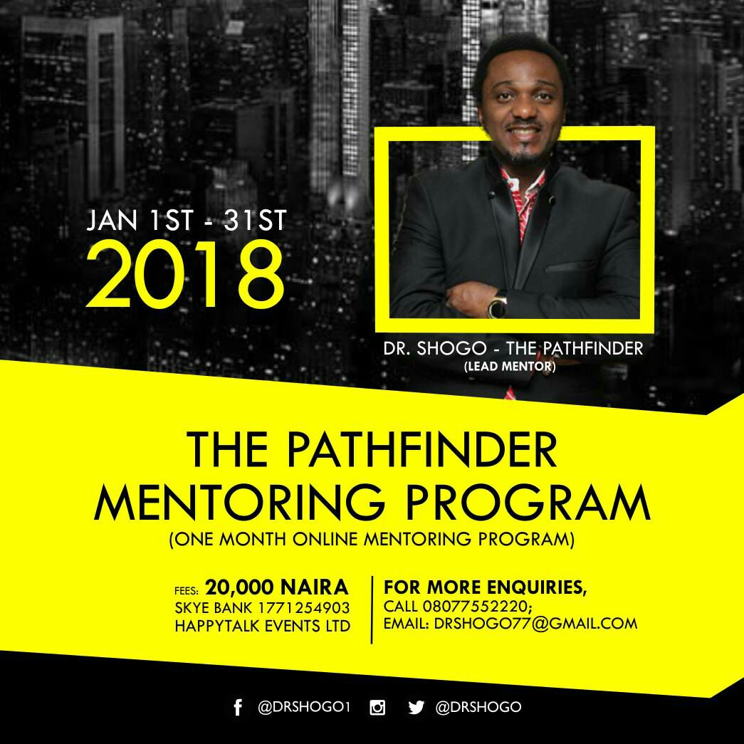 PERSONAL LEADERSHIP: THE PATHFINDER MENTORING PROGRAM. Whatsapp: 08077552220