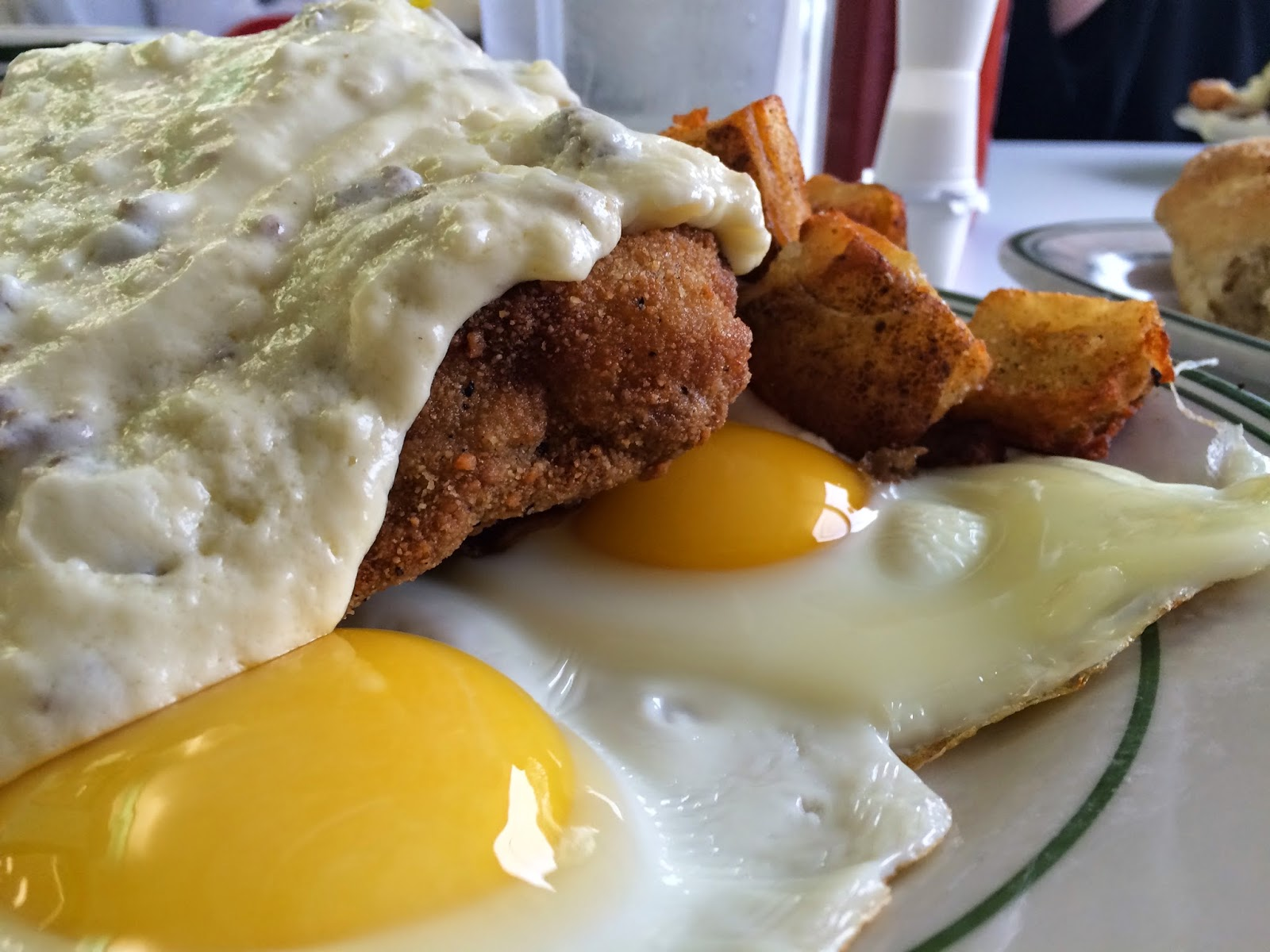 Chicken Fried Steak and Eggs with Hash Browns