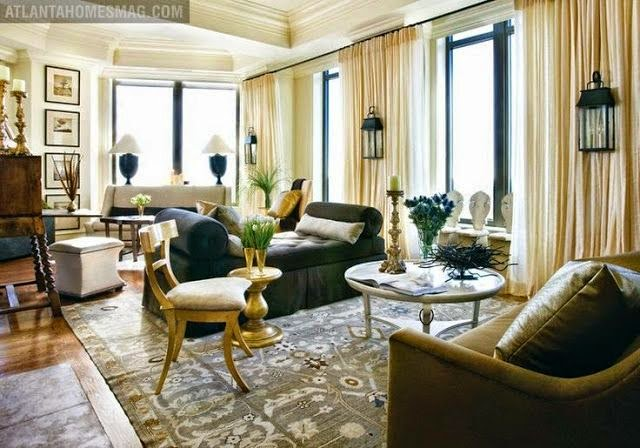 beautiful traditional gray and white large open living room gold accents