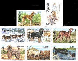 1993年ウガンダ共和国 サルーキ ラブラドール・レトリーバー シベリアン・ハスキー ブリアード グレーハウンド アフガン・ハウンド ポインター ニューファンドランドの切手