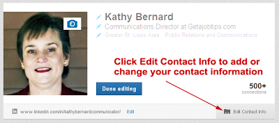 edit LinkedIn contact information, LinkedIn contact info,