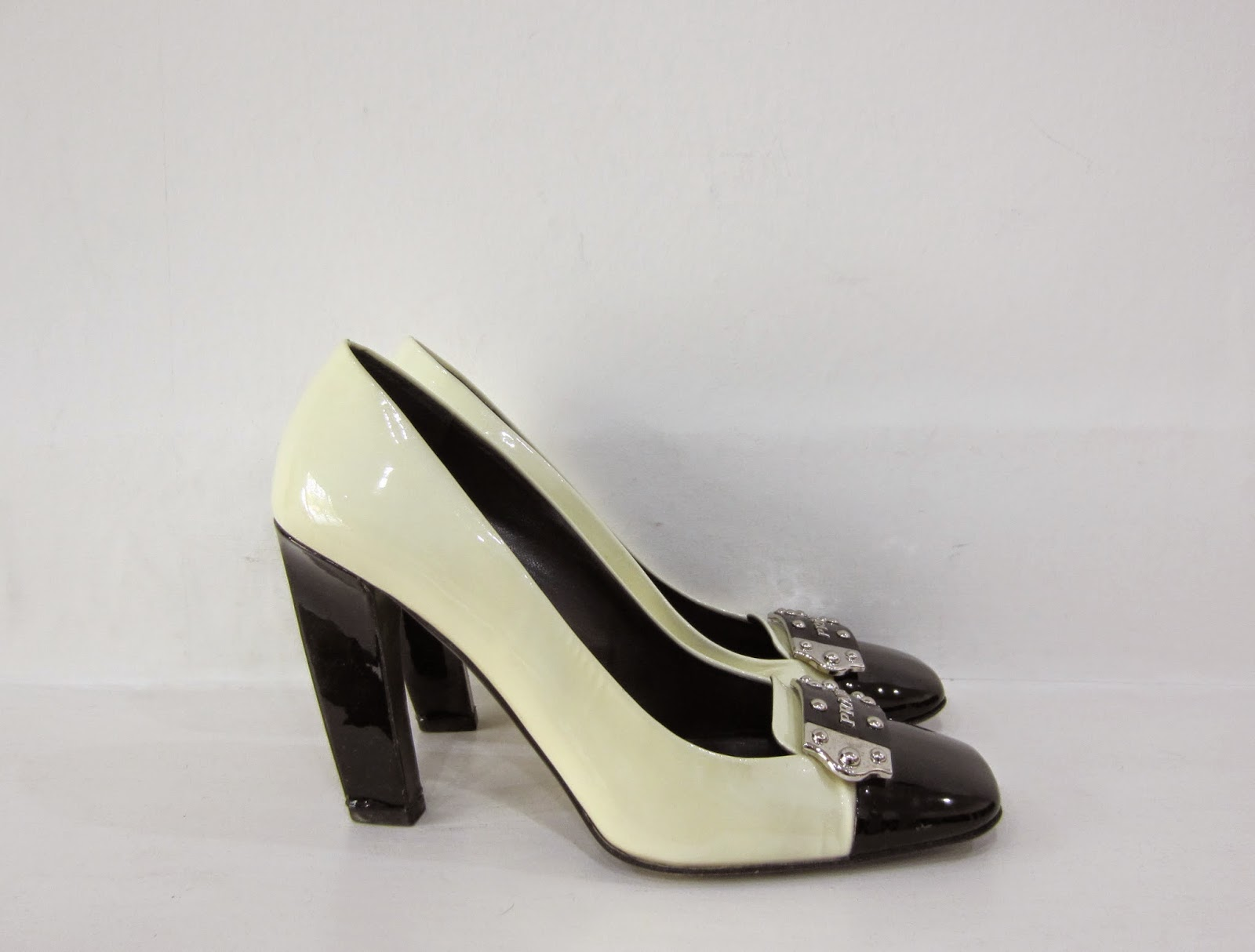Prada Cream & Black Patent High Heeled Shoes