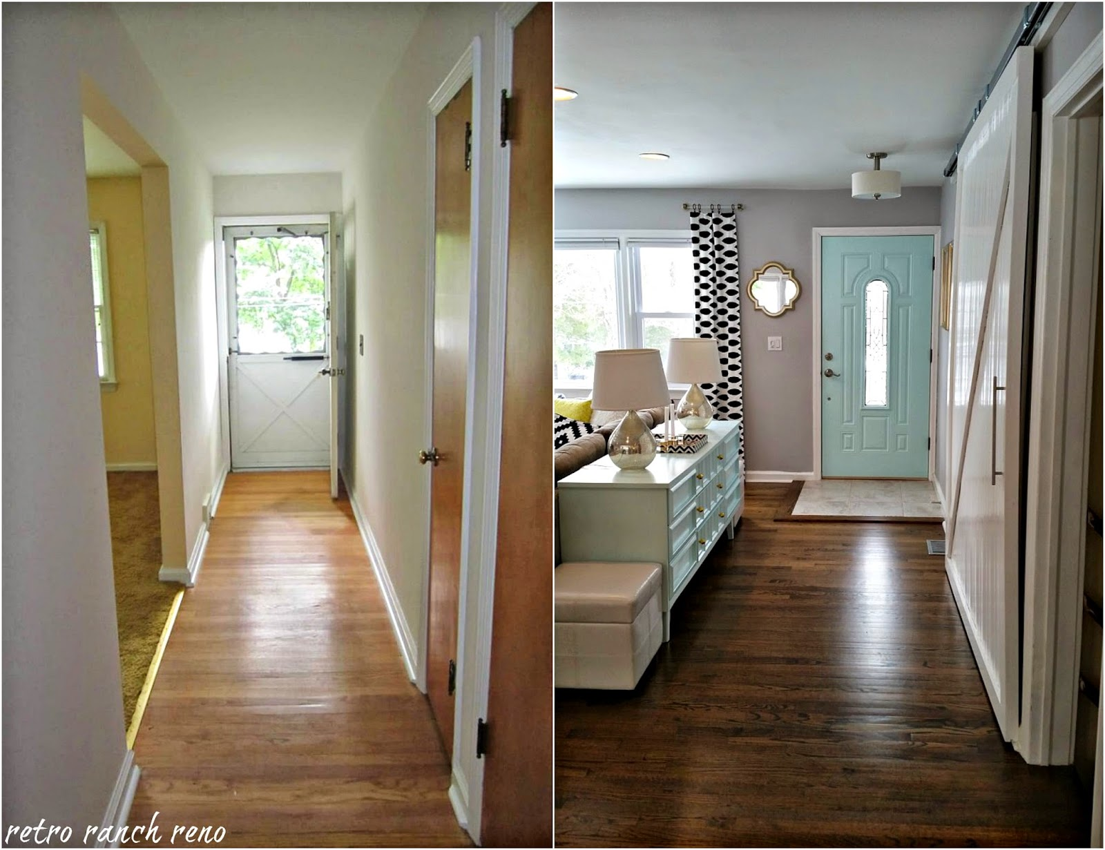 Retro ranch reno our rancher before after the entrance Before and after interior design projects