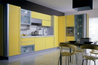 modern yellow kitchen cabinets design