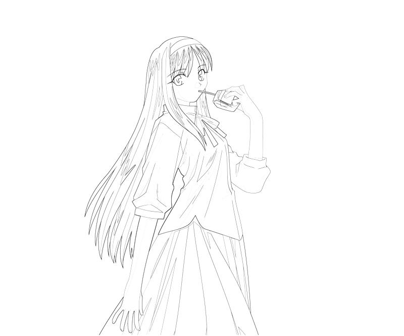 printable-akiha-tohno-drinking-coloring-pages