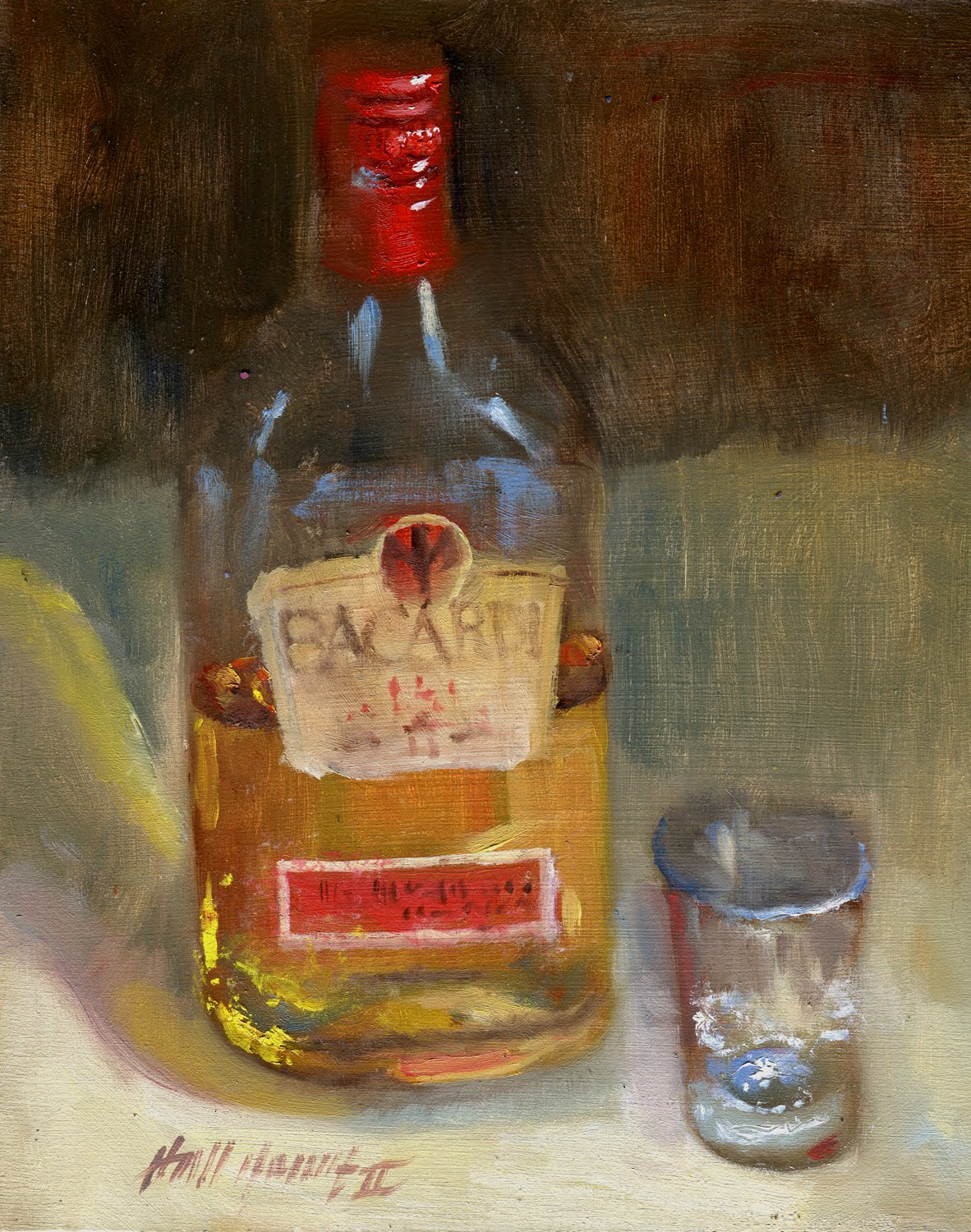 Bacardi 151 rum 75 5 alcohol 10 x8 original oil on for Painting while drinking wine