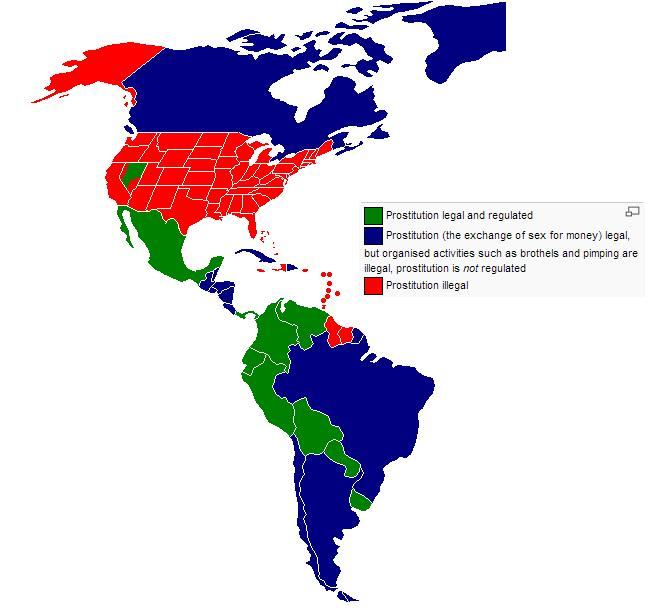 Prostitution Across The Americas HE - Prostitution legal map us