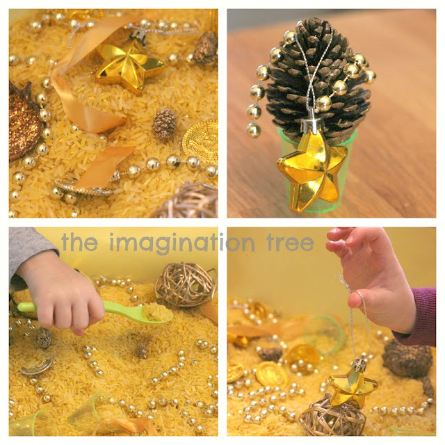 christmas cinnamon rice sensory tub http://theimaginationtree.com