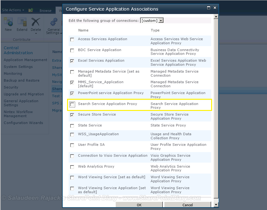 SharePoint service application association