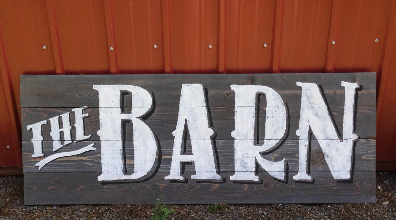 The Barn Custom sign - weathered gray wood and vintage inspired lettering