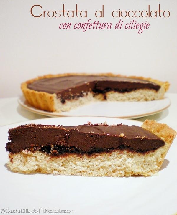 Crostata al cioccolato con confettura di ciliegie