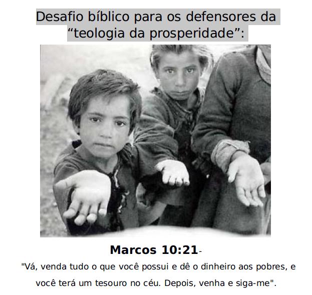 Desafio bíblico para os defensores da teologia da prosperidade