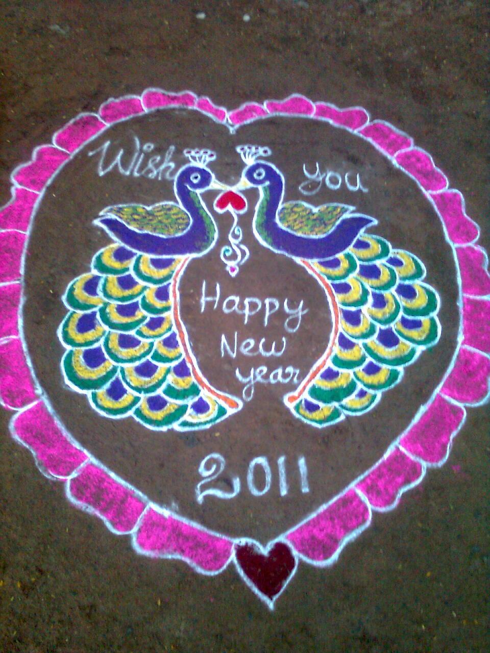 அழியாத கோலம்/ ముగ్గులు / रंगोली : Peacock kolam Rangoli Designs With Dots For New Year 2012