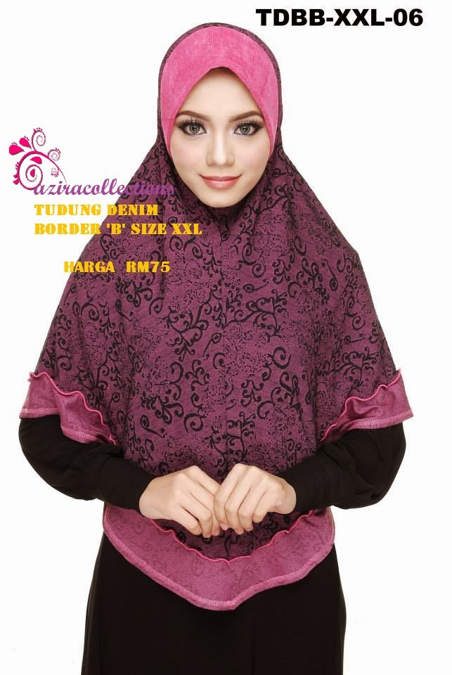 KOLEKSI TUDUNG BORDER DENIM XXL