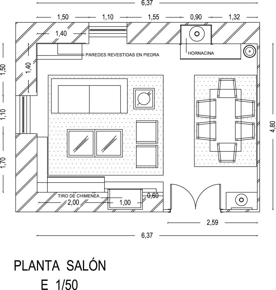 Los hogares que habitamos proyecto sal n comedor celi for Plantas salon