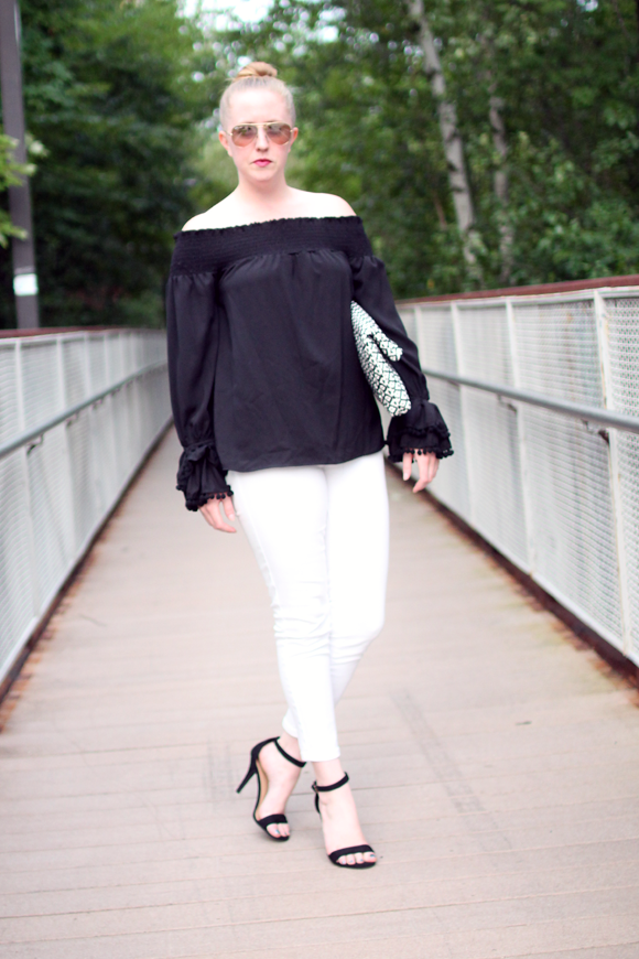 vava off the should top, revolve clothing, new england style blogger, massachusetts blogger, boston style blogger, on the style blog, black and white style