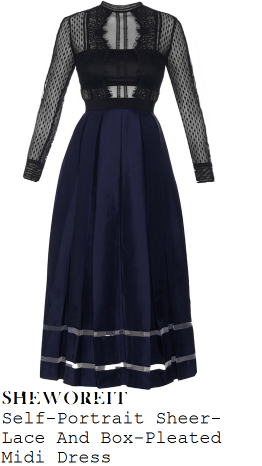 sarah-jane-crawford-black-navy-sheer-lace-long-sleeve-pleated-midi-dress-mobos