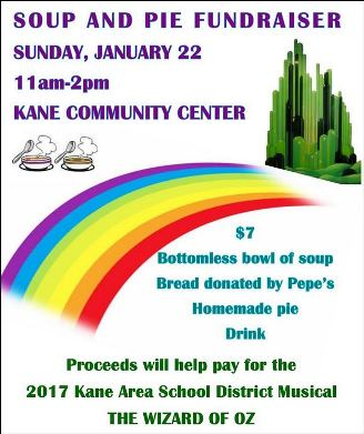 1-22 Soup & Pie Fundraiser For Kane Musical
