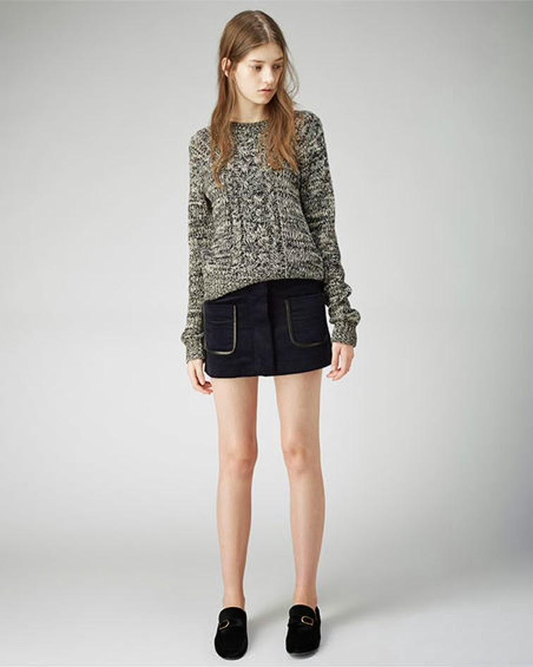 Isabel Marant Etoile Gina mini skirt Delta cable knit Ashford pony hair loafers