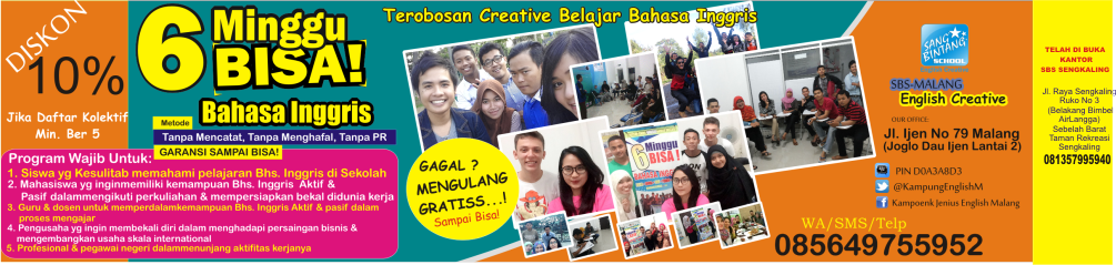 Tempat Kursus Bahasa Inggris di Malang, SBS Malang