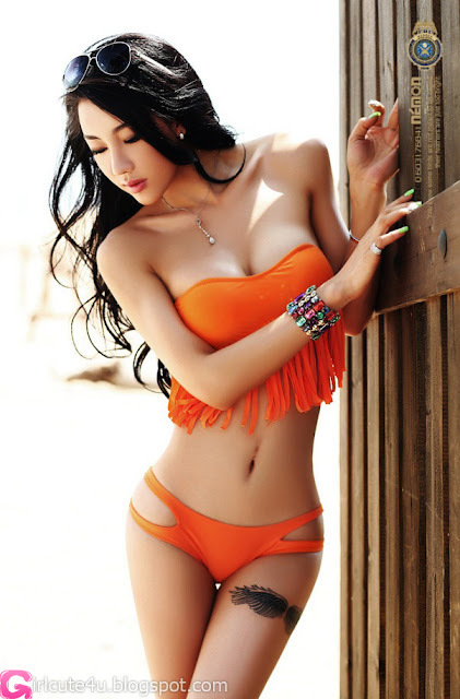 4 Jin Mei Xin - Orange Bikini-very cute asian girl-girlcute4u.blogspot.com