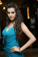 Deeksha Panth in Spicy Blue Gown with deep kneck spicy beauty