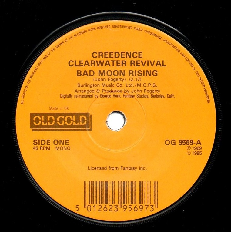 vinyl records creedence clearwater revival bad moon rising p s. Black Bedroom Furniture Sets. Home Design Ideas