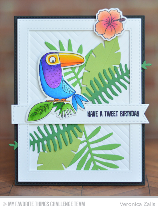 Tweet BIrthday Card by Veronica Zalis featuring the Birdie Brown Polynesian Paradise stamp set and DIe-namics, the Birds of Paradise stamp set and DIe-namics, and the WIld Greenery DIe-namics #mftstamps