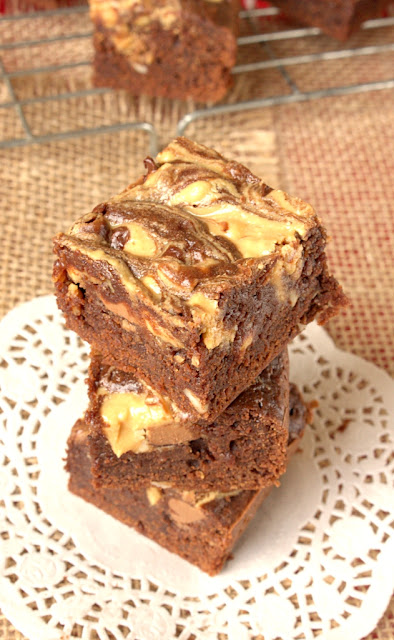 My absolute favourite gooey Peanut Butter Brownies. That's neat peanut butter swirled right on top.
