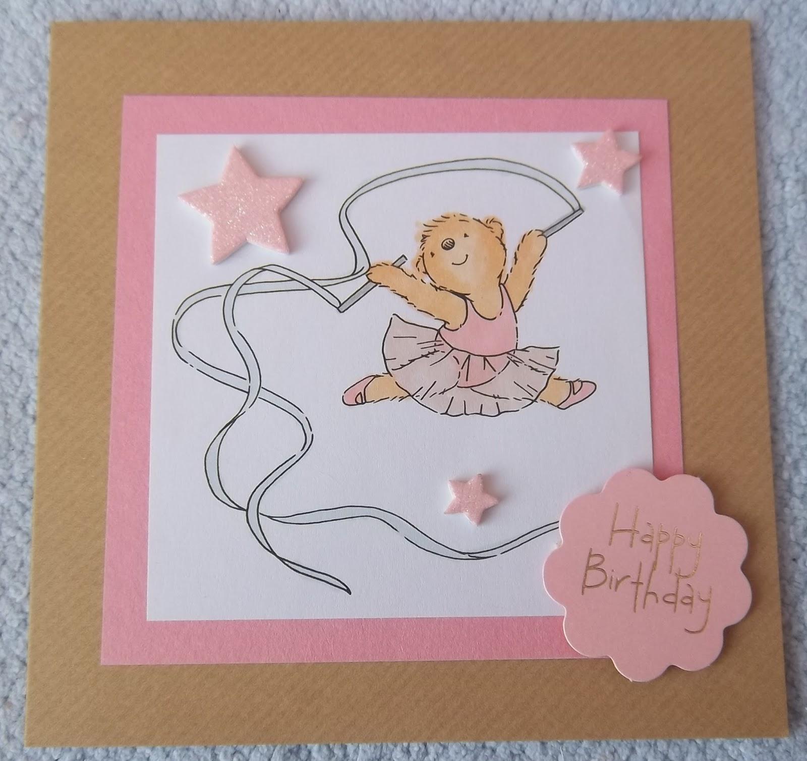 Alizabethy Card Making Addict Ballerina Teddy Bear Birthday Cards