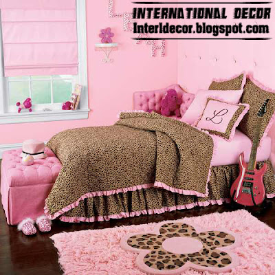 modern girls bedroom ideas, stylish girls bedding brown pink