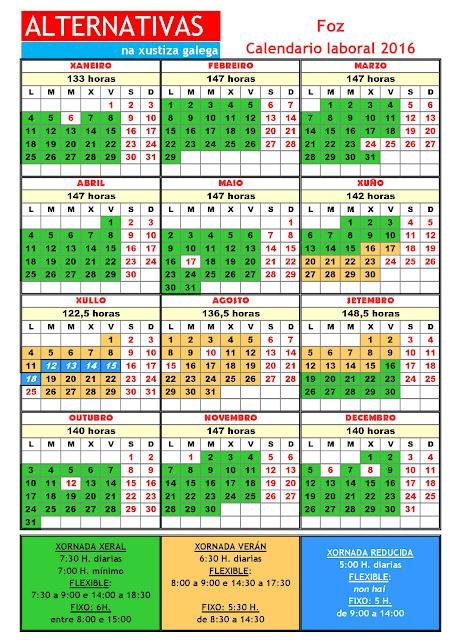 Foz. Calendario laboral 2016