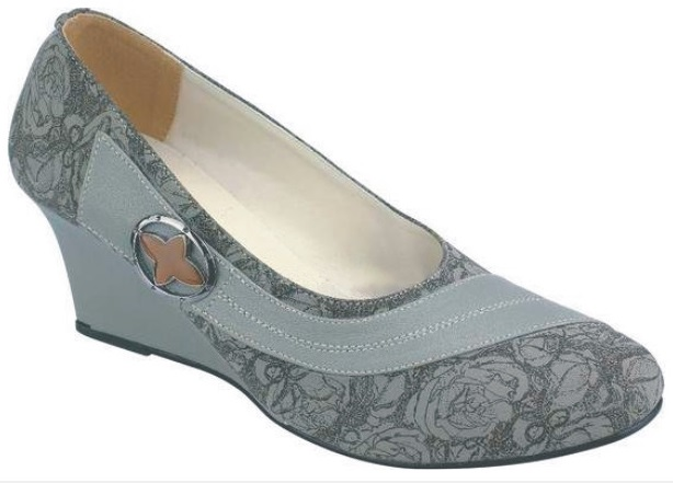 Sepatu Wedges Catenzo Motif Bunga Abu