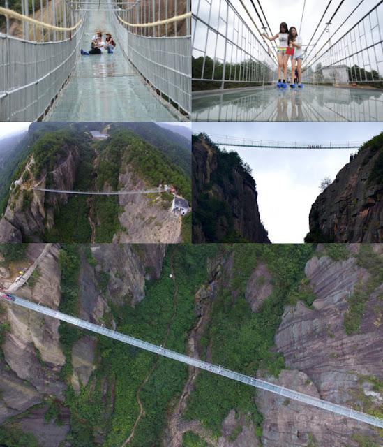 Tampak jembatan sepanjang 300 meter menghubungkan 2 bukit