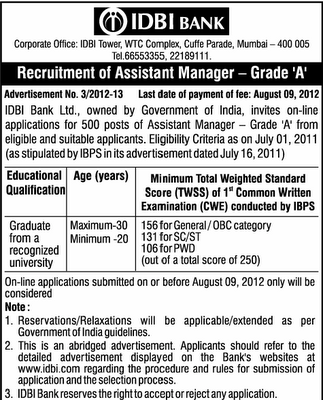 IDBI Recruitment 2012 Assistant Manager : 500 post