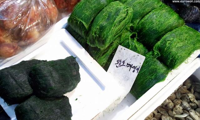 Algas maesaengi a la venta en Noryangjin