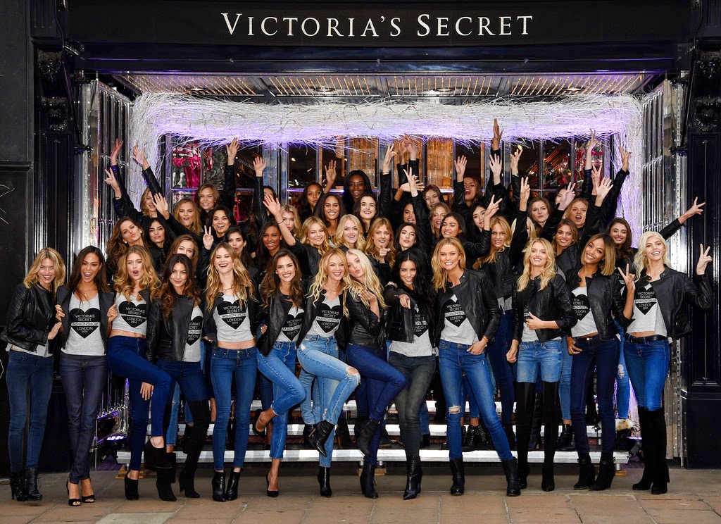 47 Victoria's Secret models pose in skinny jeans and leather jackets at the VS New Bond Street Store in London