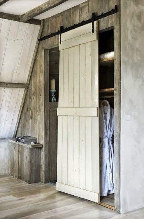 DIY Interior Sliding Barn Door on Closet  Content in a Cottage