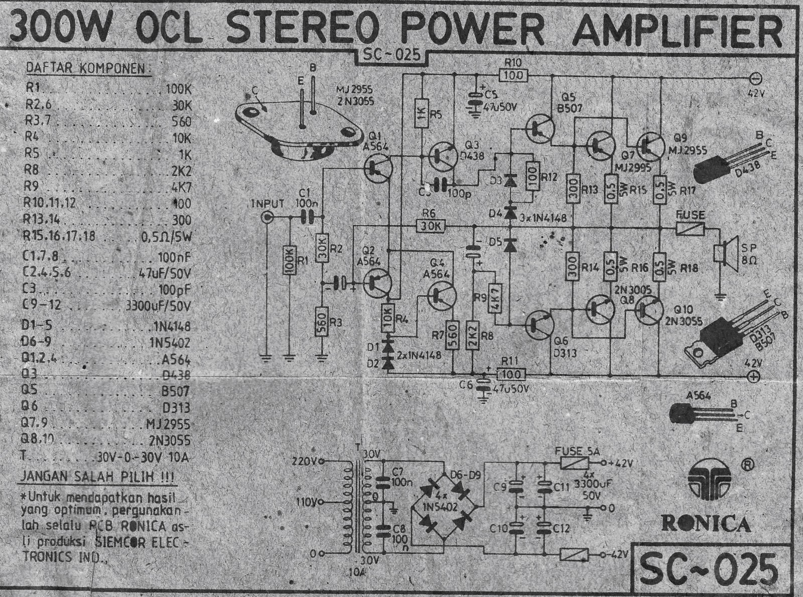 Audio 300W Power Amplifier OCL Circuit